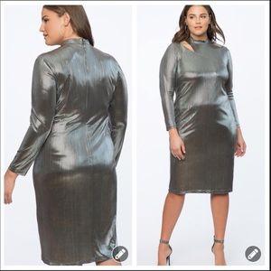 New! Eloquii silver metallic long party dress 5224